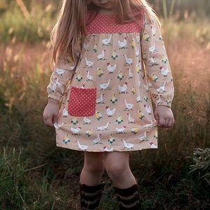 Farmhouse Farm Girl's Chicken & Duck Dress 4 & 5